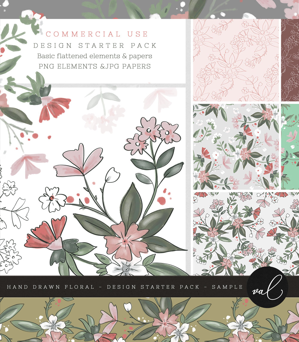 Hand Drawn Floral - Design Starter Pack - SAMPLE